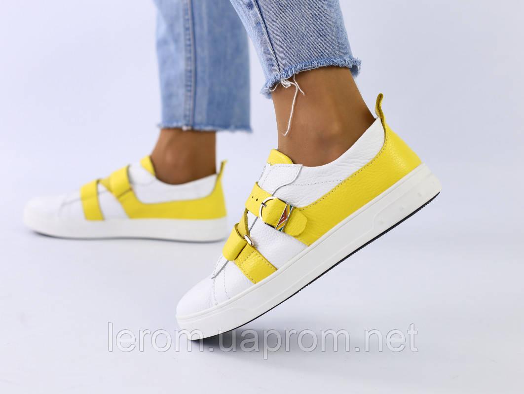 Женские кроссовки белые с желтыми ремешками