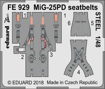 Фототравление для МиГ-25ПД стальные ремни. 1/48 EDUARD FE929