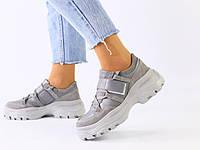 Женские серые замшевые кроссовки с вставками кожи, фото 1