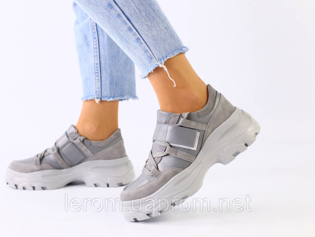 Женские серые замшевые кроссовки с вставками кожи