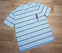 Серая хлопковая мужская футболка в полоску GAP (США) (Размер L)