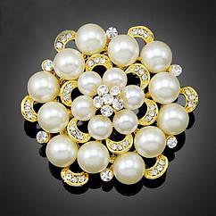 Жіноча брошка - Плавний коло (Золотистий з білим)