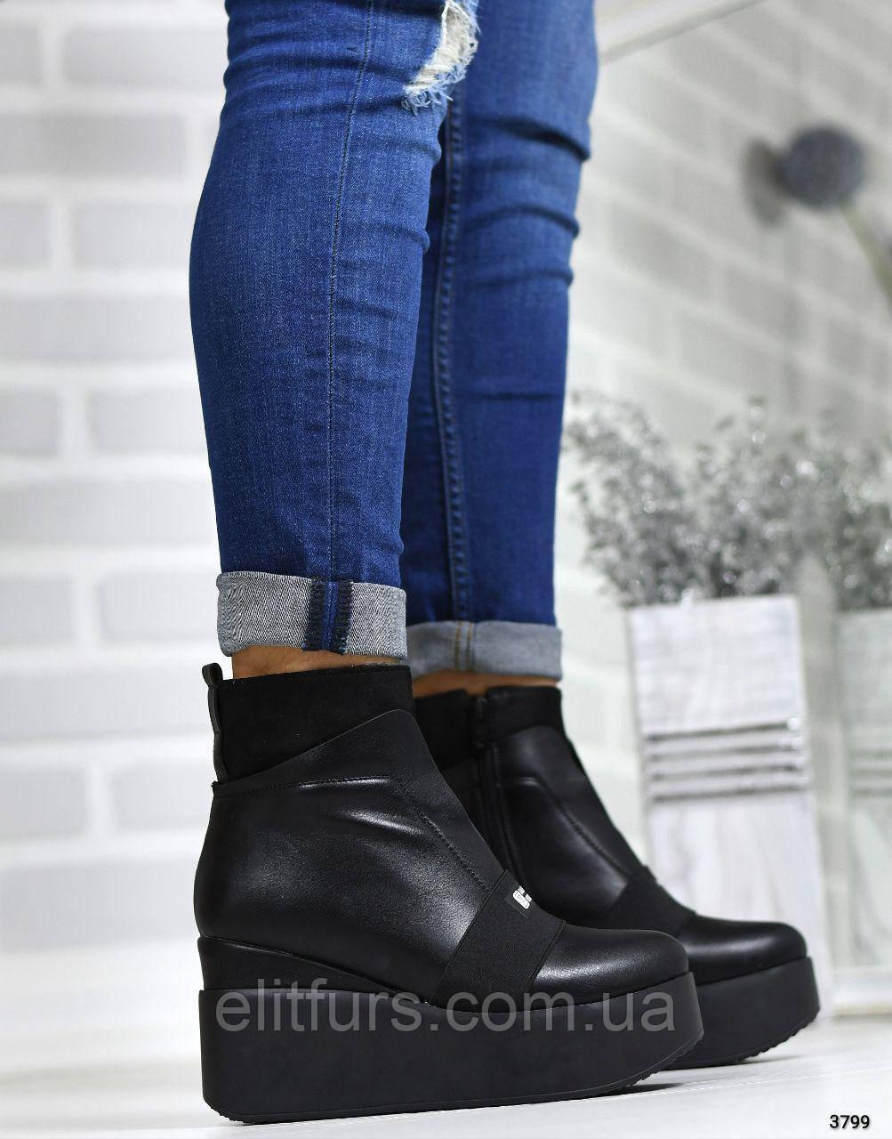 Ботинки демисезонные на высокой платформе, эко-кожа