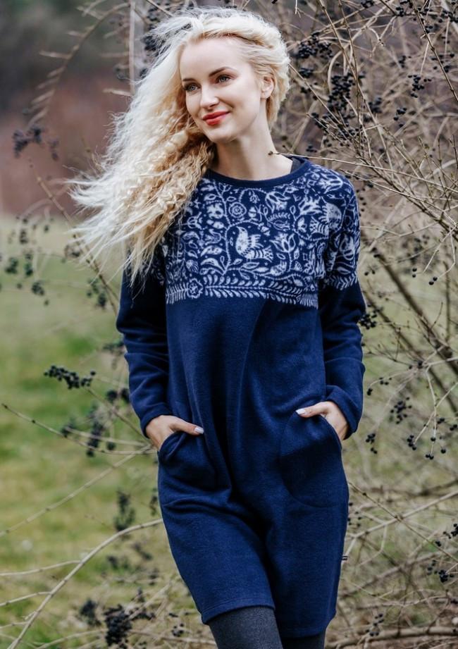 Домашнее теплое платье из флиса. Польша. KEY LHD 082