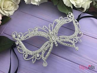 """Необычная маска """"Королевская бабочка"""" белая на новогодний карнавальный бал"""
