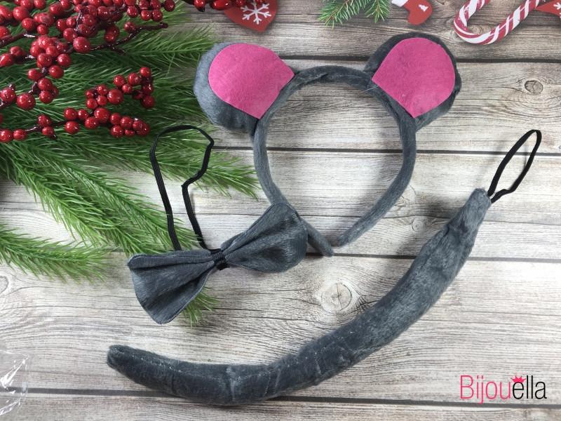 Аксесуар для костюма мышонка для взрослых и детей ушки-обруч, бабочка и хвостик карнавальный набор