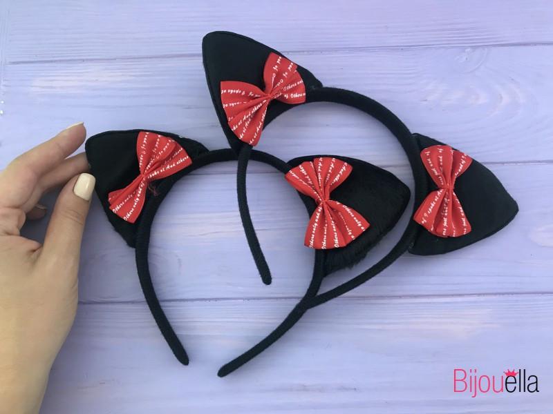 Для образу котика вушка-обруч з милими червоними бантиками для дорослих і дітей карнавальний аксесуар