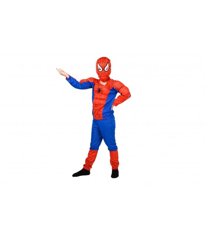 Человек - паук (с мышцами) костюм карнавальный новогодний светлый для мальчика