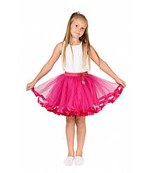 Фатиновая юбка малинового цвета пышная для девочек 5-10 лет с атласной лентой и бантиком малиновый цвет