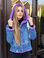 Осенняя женская джинсовая куртка с капюшоном