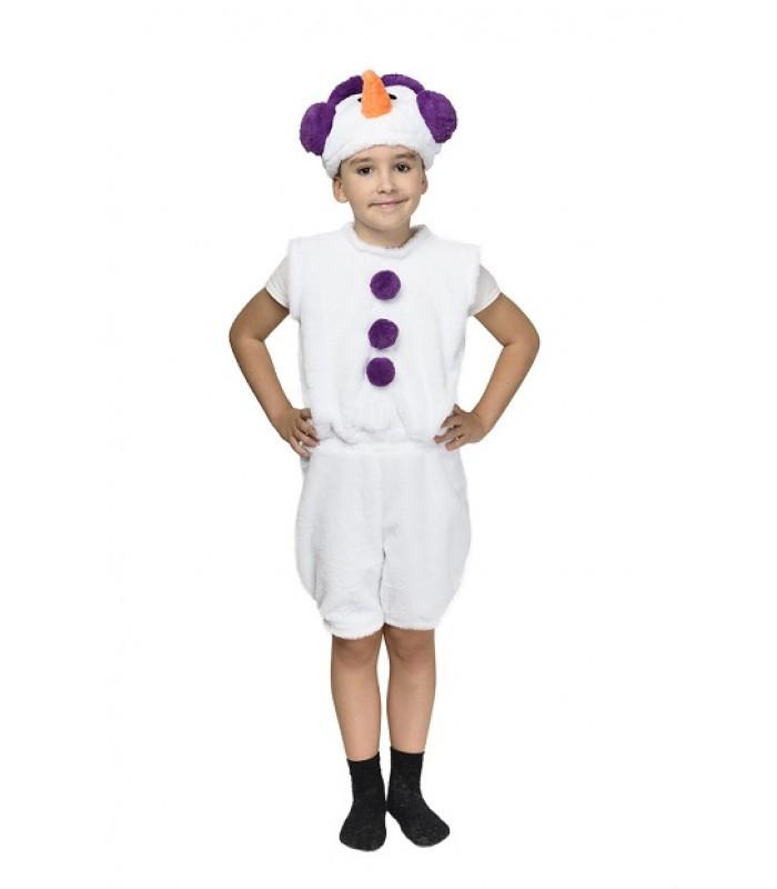 Новорічний дитячий маскарадний костюм Сніговика, фіолетовий