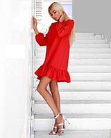 Женское короткое платье (цвет - красный, ткань - креп костюмка класса люкс) Размер S, M, L (розница и опт)