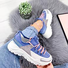 """Кроссовки женские """"Ousten"""" синего цвета из текстиля. Кеды женские. Мокасины женские. Обувь женская, фото 2"""