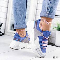 """Кроссовки женские """"Ousten"""" синего цвета из текстиля. Кеды женские. Мокасины женские. Обувь женская, фото 3"""