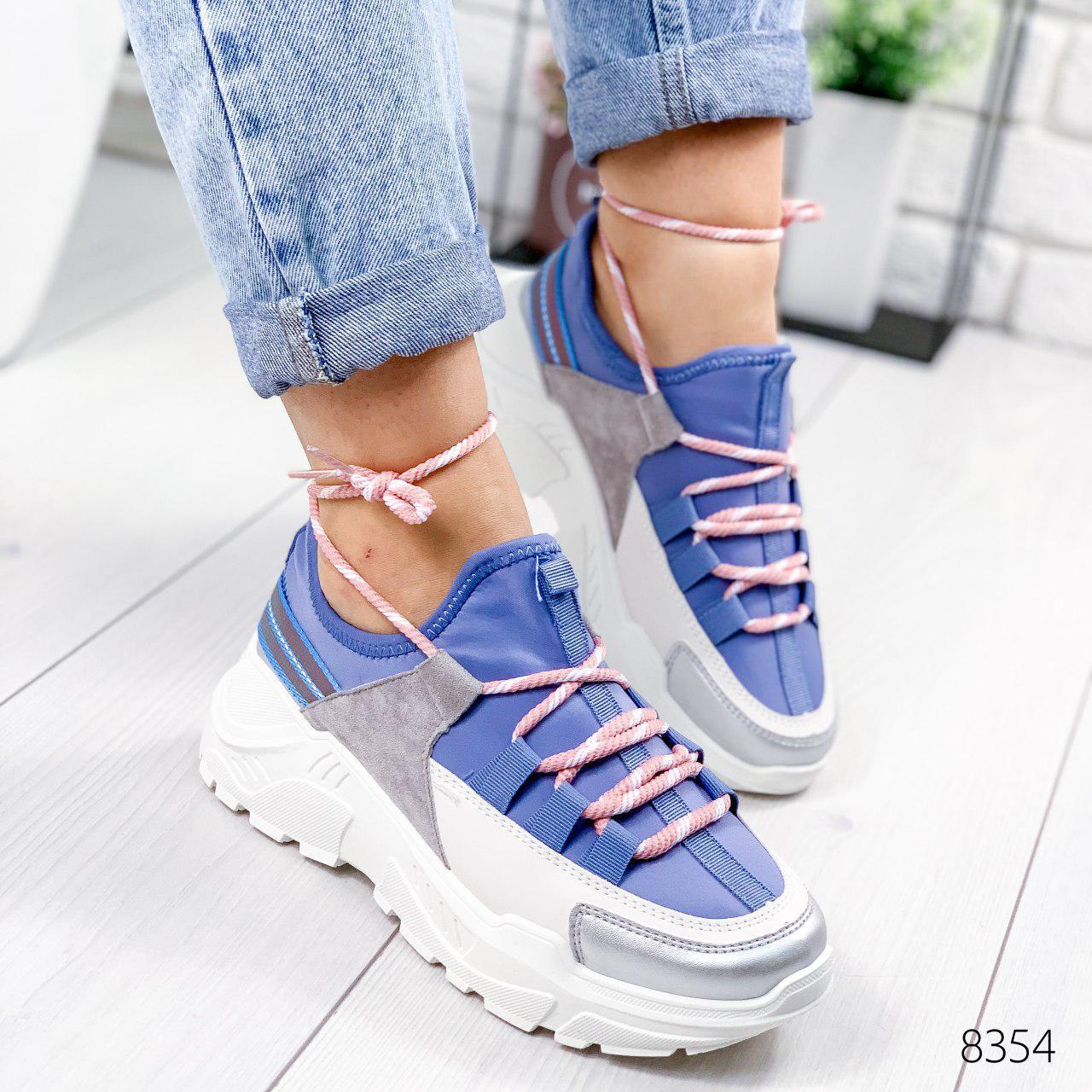 """Кроссовки женские """"Ousten"""" синего цвета из текстиля. Кеды женские. Мокасины женские. Обувь женская"""