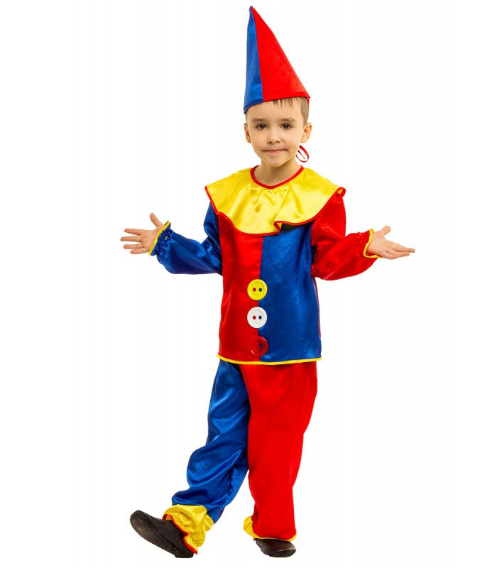 Петрушка детский костюм синий с колпаком, рост 110-134 см. на карнавал, Новый Год