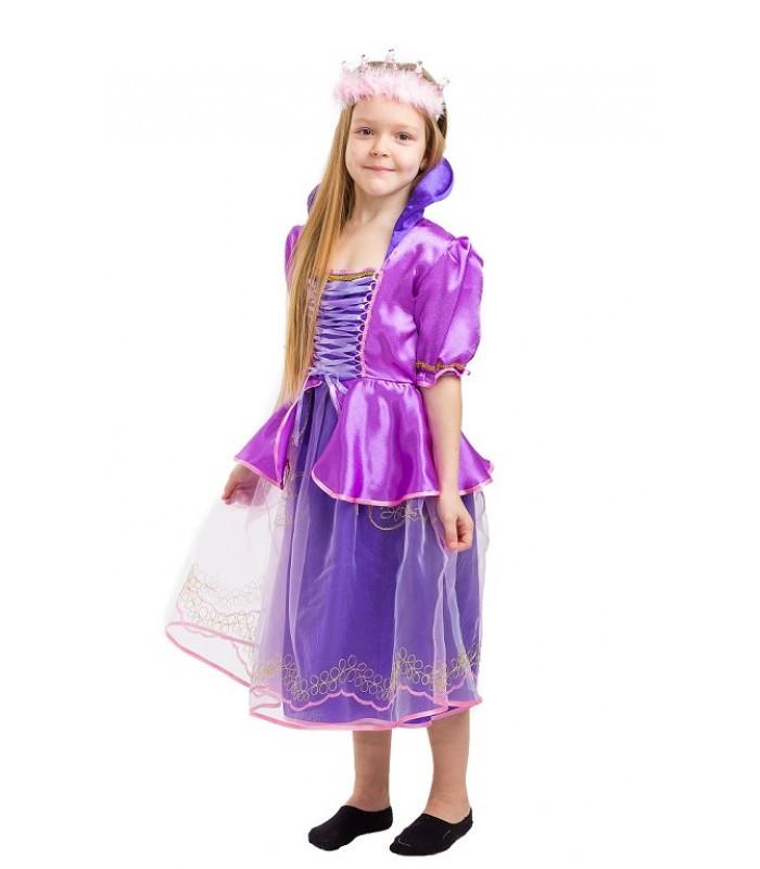 Сказочная Принцесса Рапунцель, новогодний костюм для девочки фиолетовый с короной
