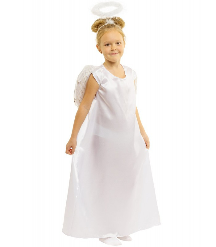 Дівчинка Ангел дитячий карнавальний костюм, білий з крилами