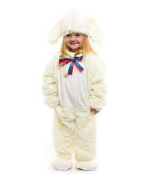 Для младенцев 0.5-2.5 лет пижамка для деток Зайчик белый цвет ткань - мех