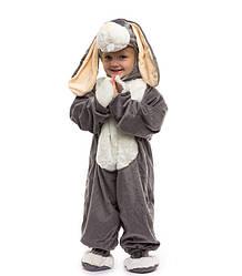 Для малышей маскарадный комбинезон 0.5-2.5 лет пижамка для деток серый Зайчик