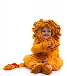 Комбинезон Львёнок - малыш 0.5-2.5 лет пижамка теплая для деток маскарадная оранжевый цвет