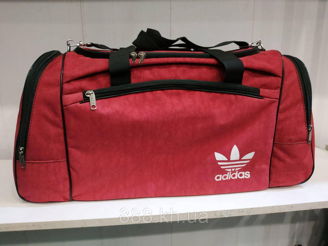 Дорожная универсальная сумка Adidas, сумка для поездок, дорожная сумка (красный), фото 1