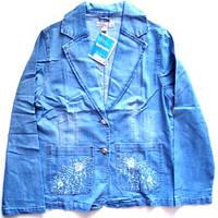 Пиджак джинсовый c вышивкой размер L