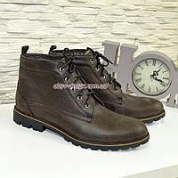 Ботинки зимние коричневые мужские на шнуровке, из натуральной кожи нубук. 40 размер