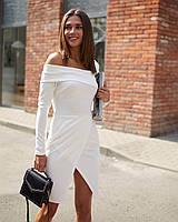 Стильное белое платье до колена, фото 1