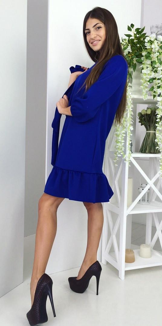 Платье с рюшей короткое (цвет - электрик, ткань - дайвинг) Размер S, M, L (розница и опт)