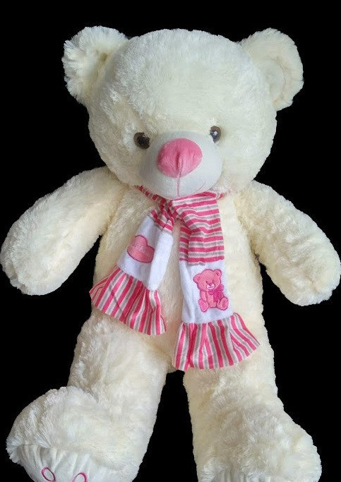 Мишко 68 см з милим рожевим шарфом іграшка на подарунок дитячі м'які іграшки