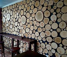Декоративное панно из срезов дерева на всю стену, картина из срезов