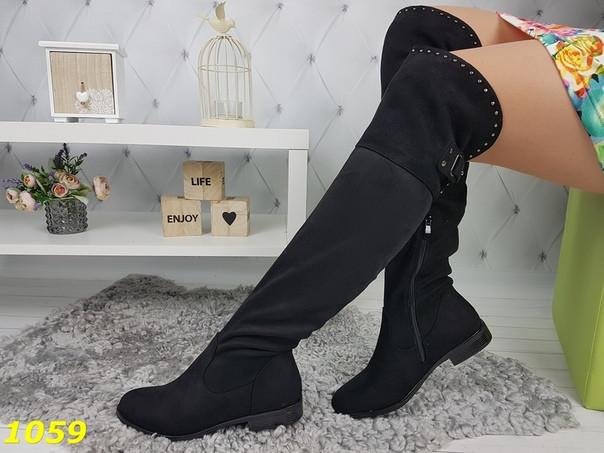 Женские черные демисезонные сапоги ботфорты на низком ходу
