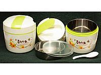 Термос для еды круглый с ложкой, 1 л (2 отделения). Ланч-бокс для еды, Термобокс пищевой.