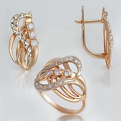 Ювелірний набір з алмазною гранню і фіанітами П8