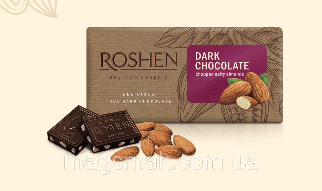 Шоколад Roshen черный с подсоленным миндалём 90 г