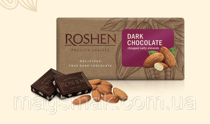 Шоколад Roshen черный с подсоленным миндалём 90 г, фото 2