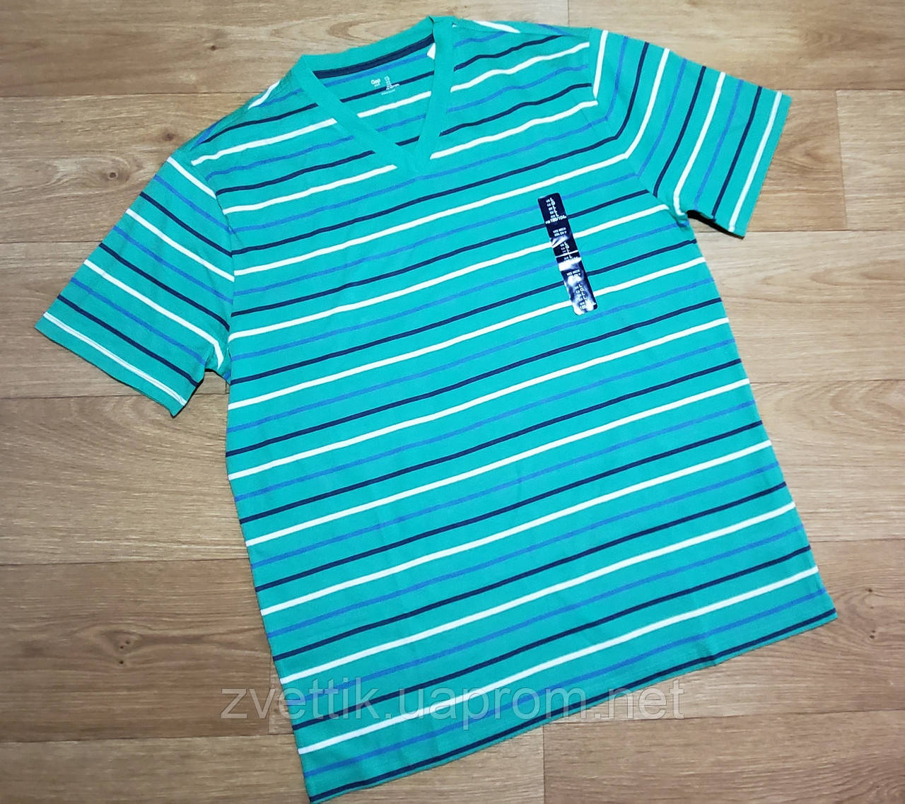 Зеленая  хлопковая мужская футболка в полоску GAP (США) (Размер L)
