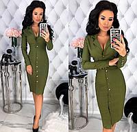 Женское облегающее платье с 42 по 48 рр из стрейч джинса с длинным рукавом