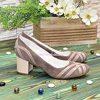 Туфли женские комбинированные на каблуке, цвет бежевый/визон