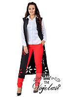 Женский костюм тройка (длинны жилет + рубашка + брюки) Новинка! 42 - 54 рр