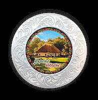 """Тарілка полікерамічна діаметром 18 см """"Україна"""" """"Хата з сільським подвір`ям"""""""