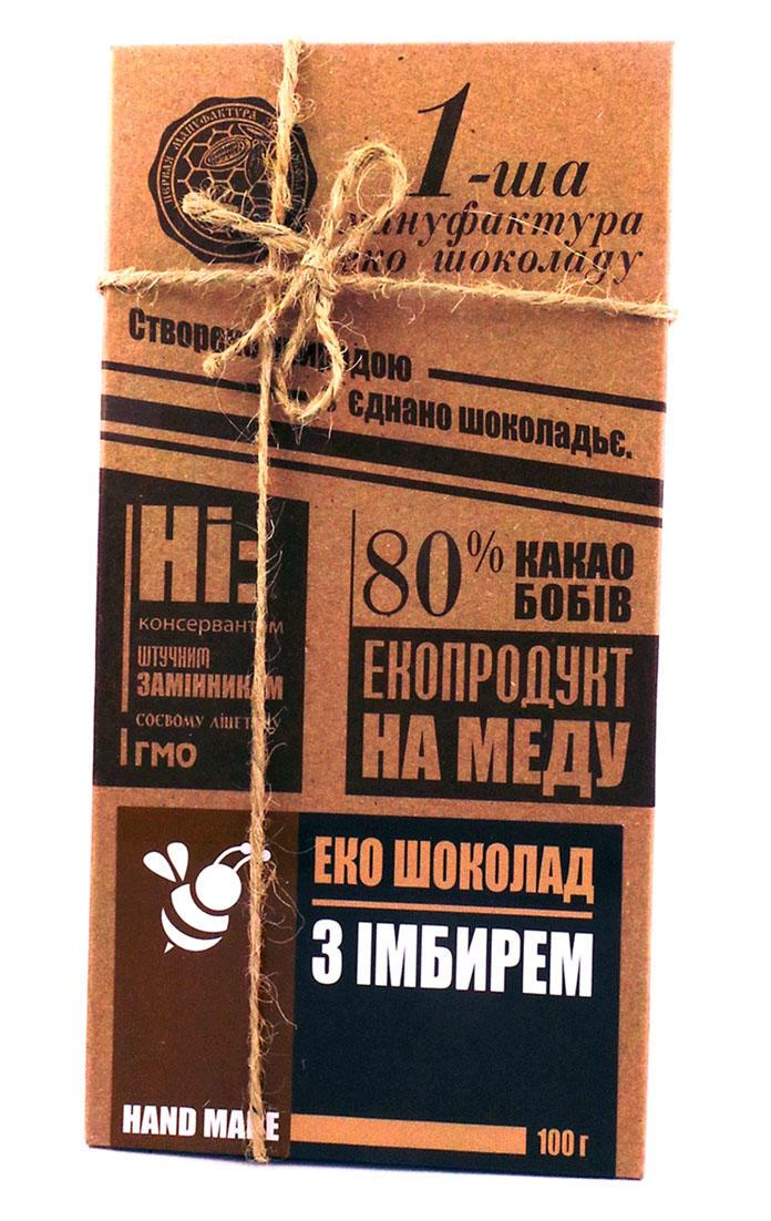 Черный шоколад с имбирем Первая мануфактура эко шоколада 100 г