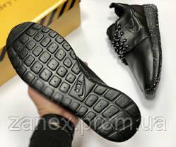 Nike Roshe run black мужские чёрные осенние кроссовки кеды Слипоны Ботинки, фото 3