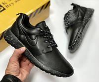 Nike Roshe run black мужские чёрные осенние кроссовки кеды Слипоны Ботинки