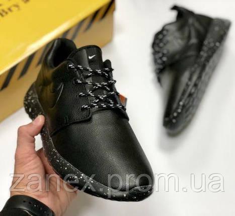 Nike Roshe run black мужские чёрные осенние кроссовки кеды Слипоны Ботинки, фото 2