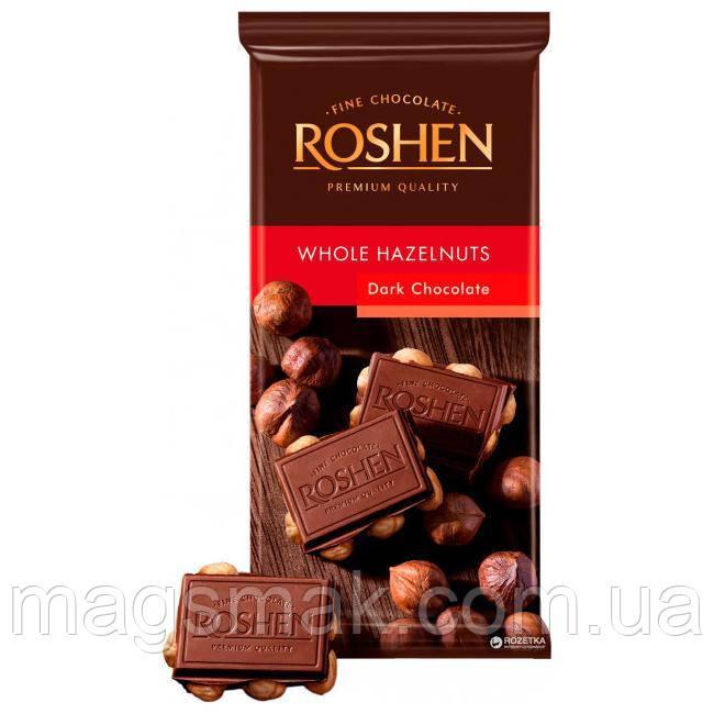 ШОКОЛАД Roshen экстрачерный с целым лесным орехом 90г
