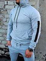 Спортивный костюм мужской весенний/осенний с черными лампасами, цвет серый