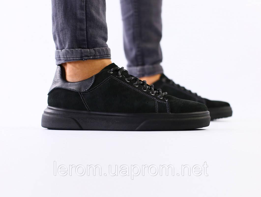 Мужские кроссовки из черного нубука с вставками кожи