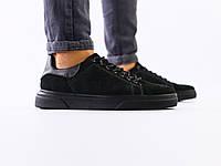Мужские кроссовки из черного нубука с вставками кожи, фото 1